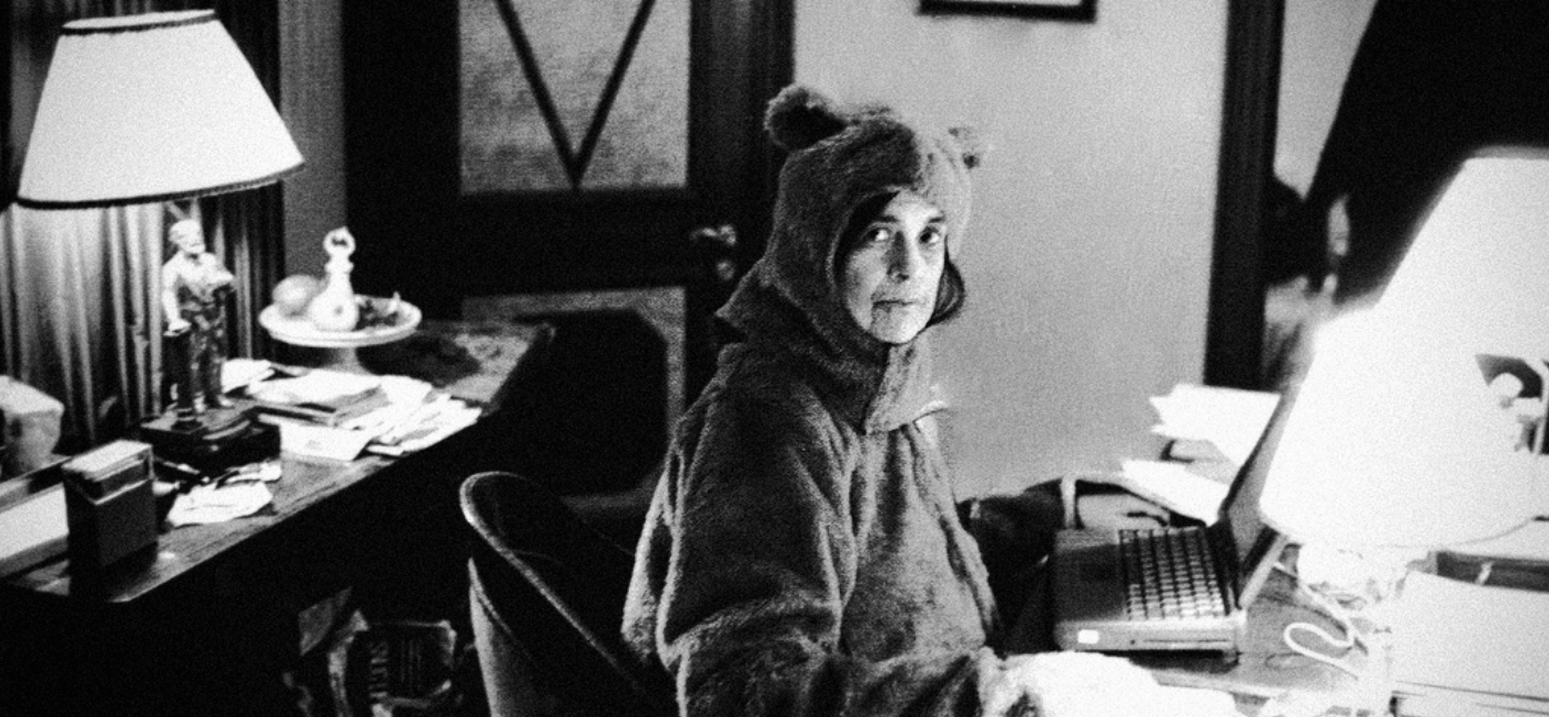 Susan Sontag in a bear costume